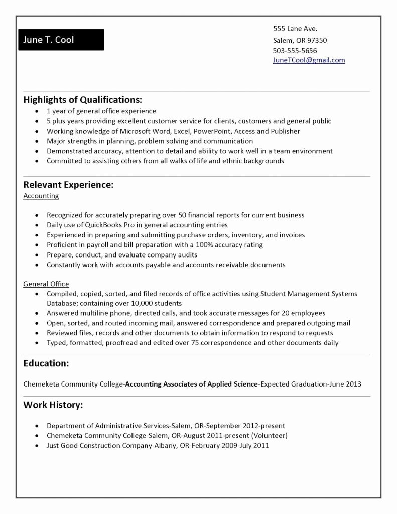 Sample Resume No Work Experience College Student