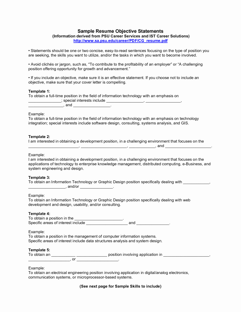 Sample Resume Objective Example List to Copy for Your