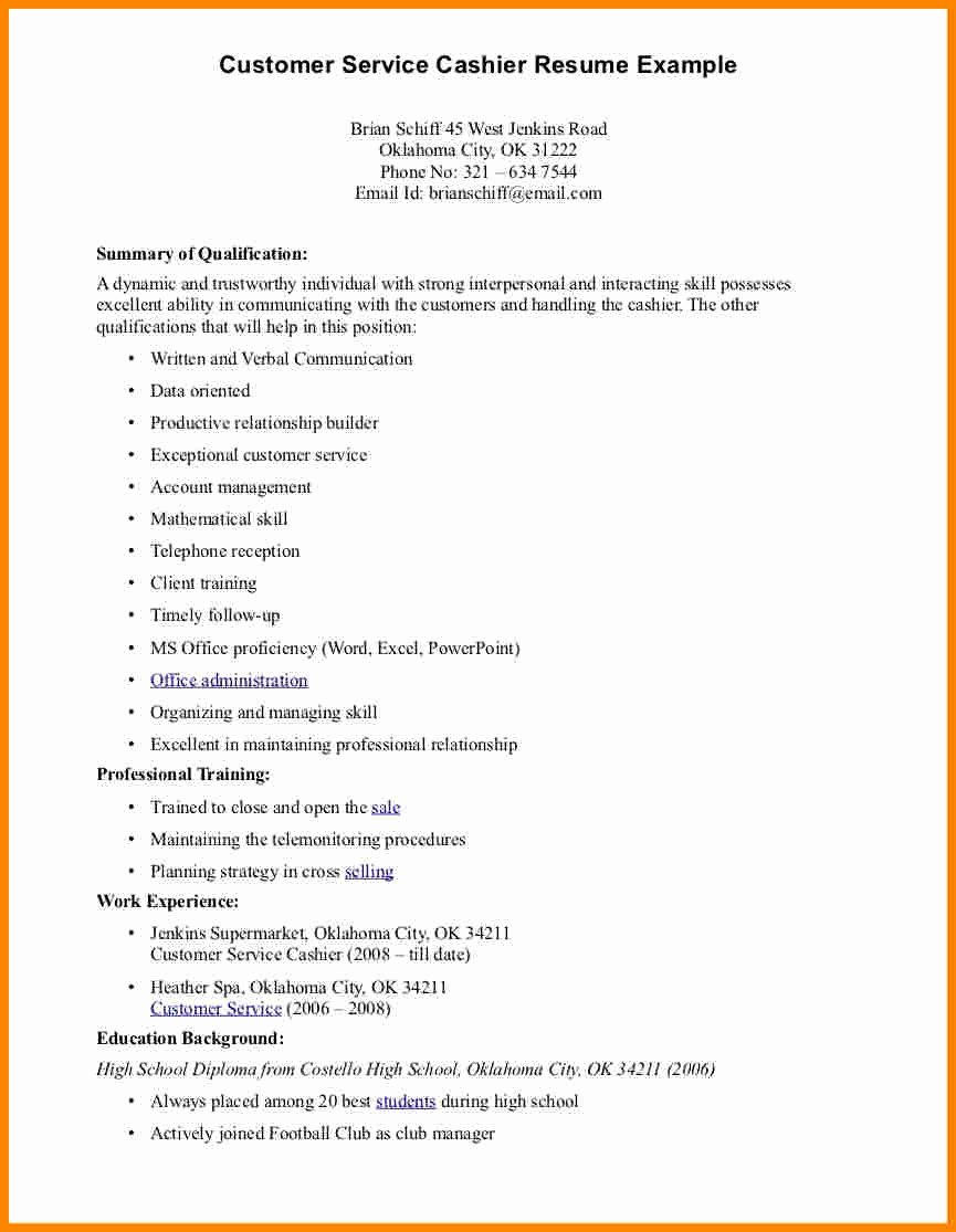 Sample Resume Objective for Cashier – Perfect Resume format