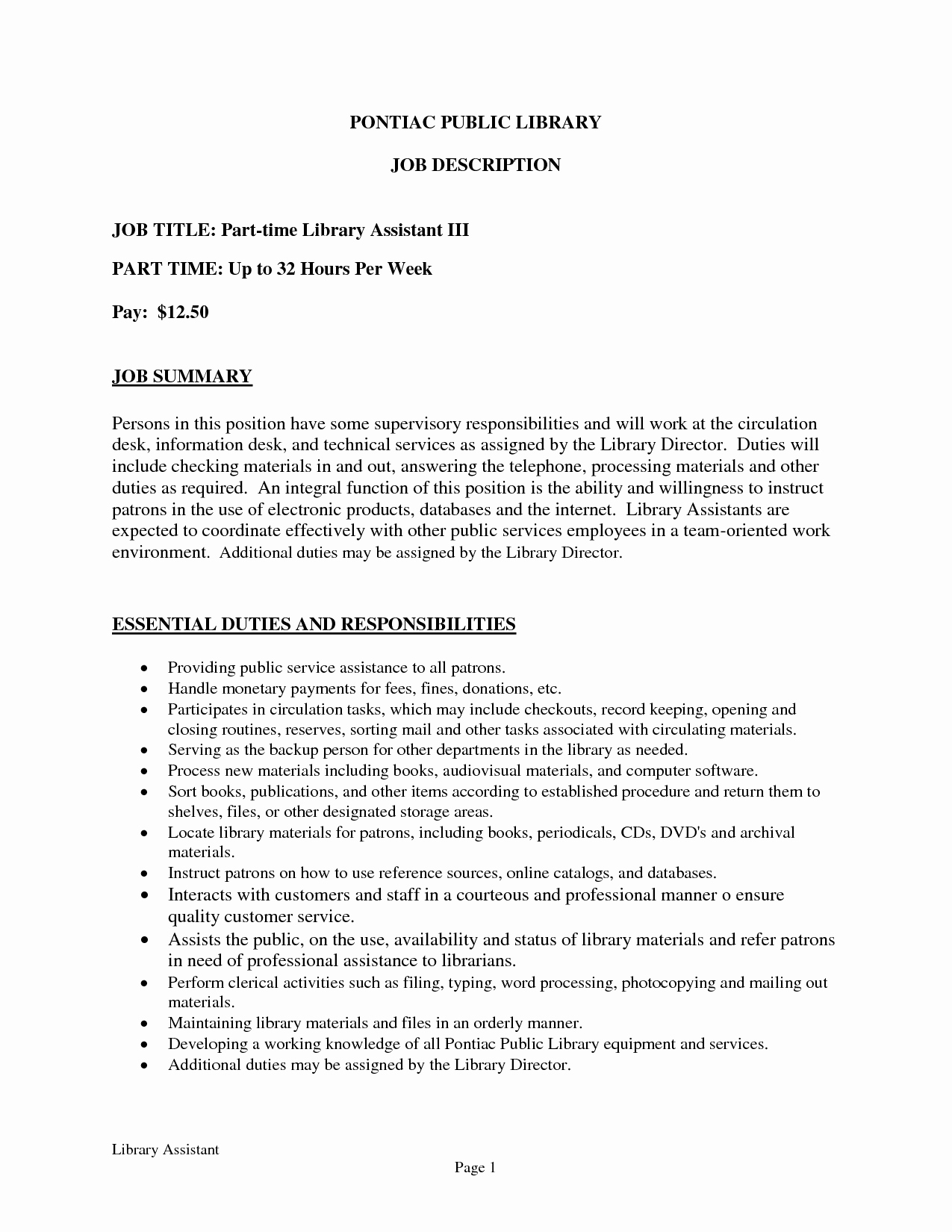 Sample Resume Objective For Library Assistant