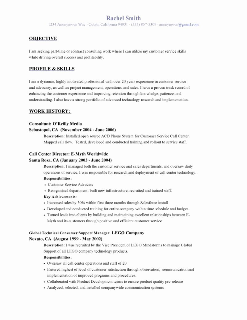 Sample Resume Objectives for Customer Service – Perfect