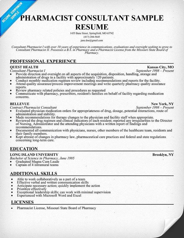 Sample Resume Pharmacist