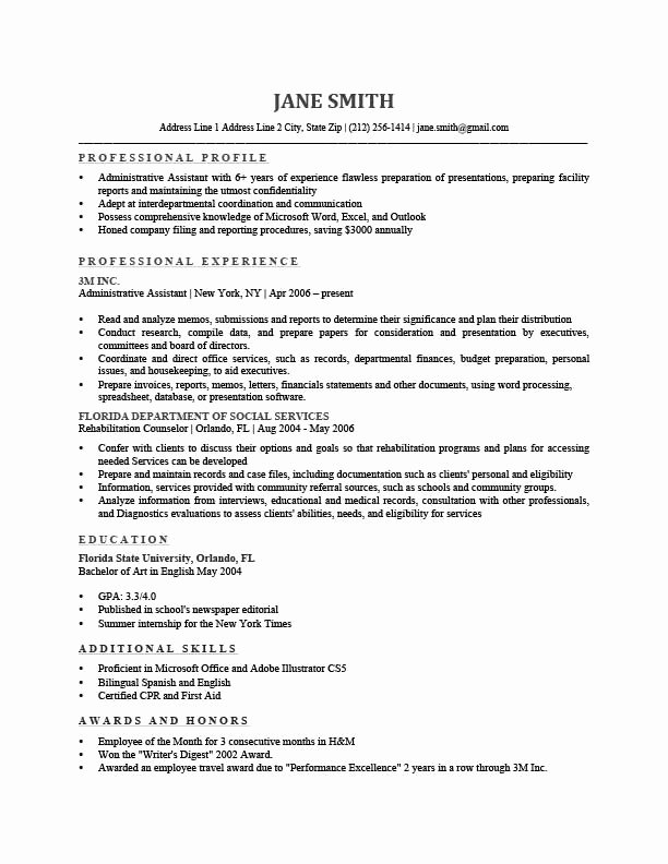 Sample Resume Profile Statement