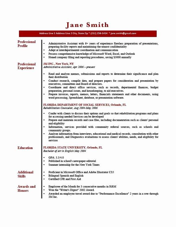 Sample Resume Profile