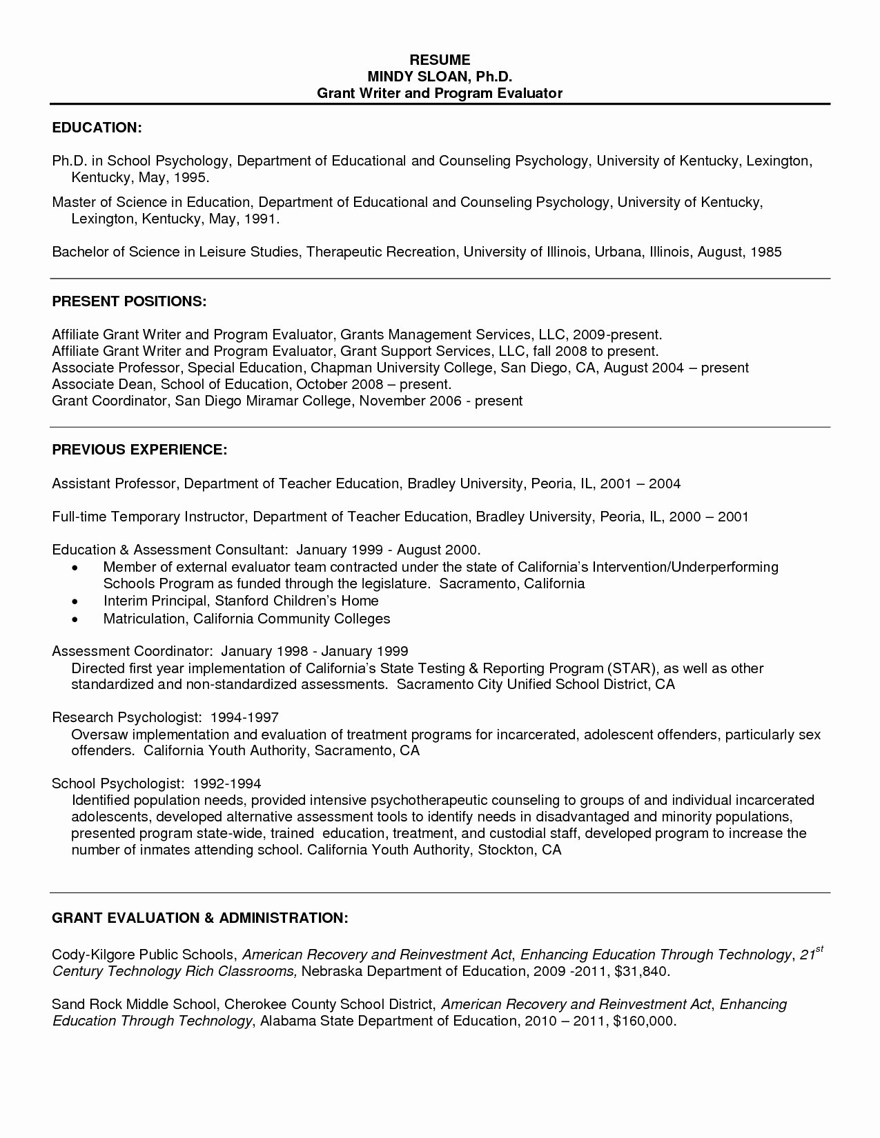 Sample Resume Psychology for Graduate School Resume