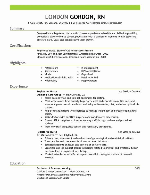 Sample Resume Registered Nurse No Experience