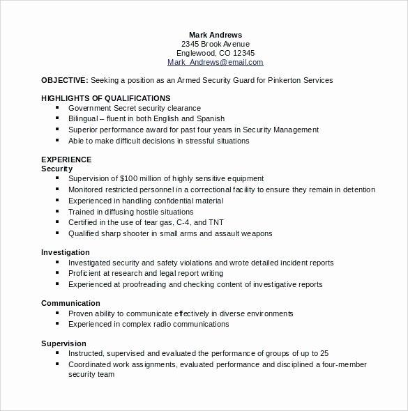 Sample Resume Security Guard – Davidkarlsson