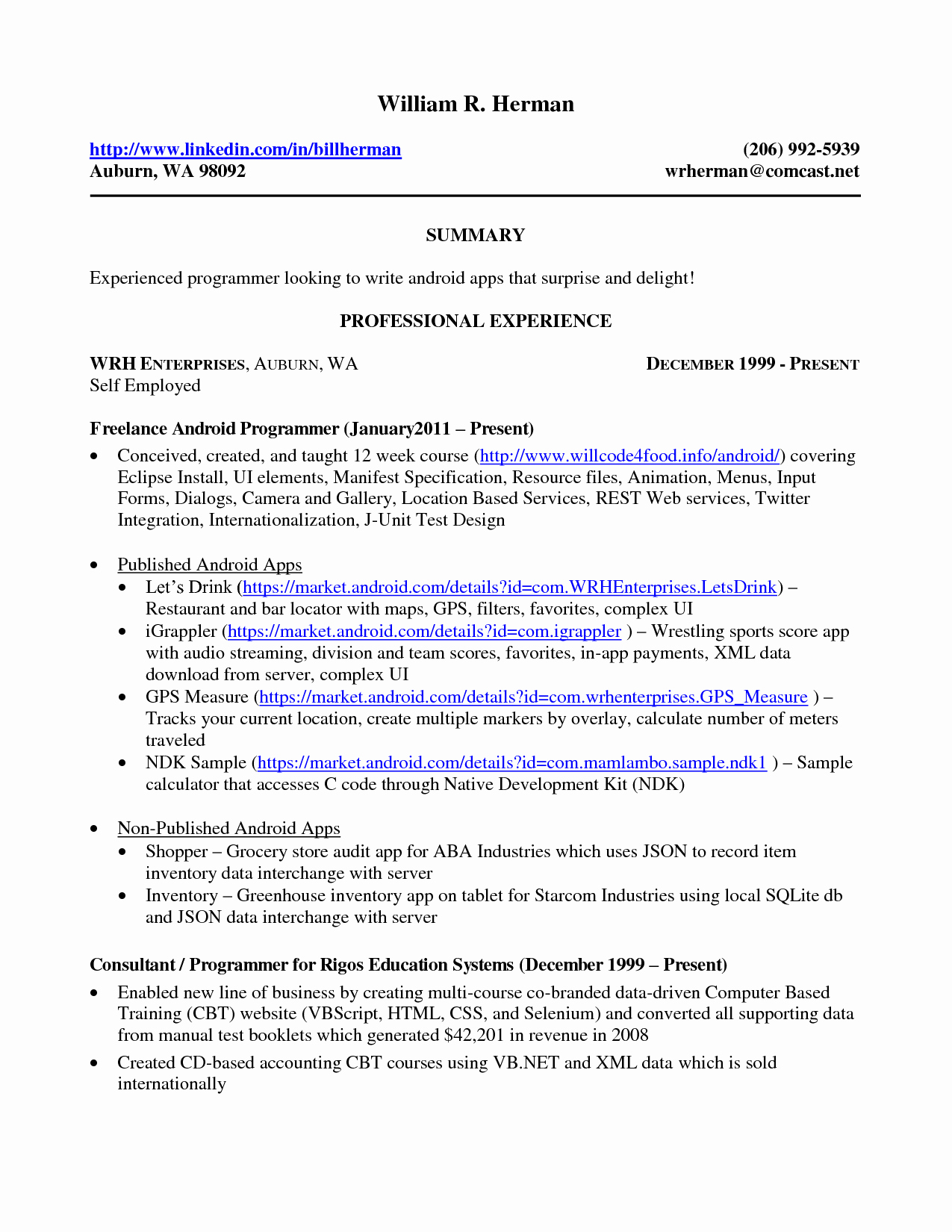 Sample Resume Self Employed Person A Success Your