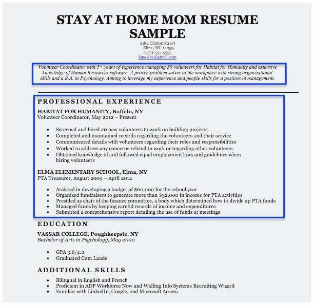 Sample Resume Stay at Home Mom Returning to Work Terrific