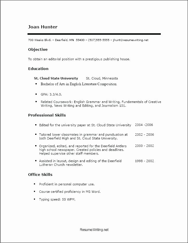 Sample Resume Template for High School Student with No Job