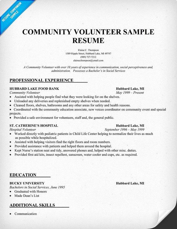 Sample Resume Volunteer
