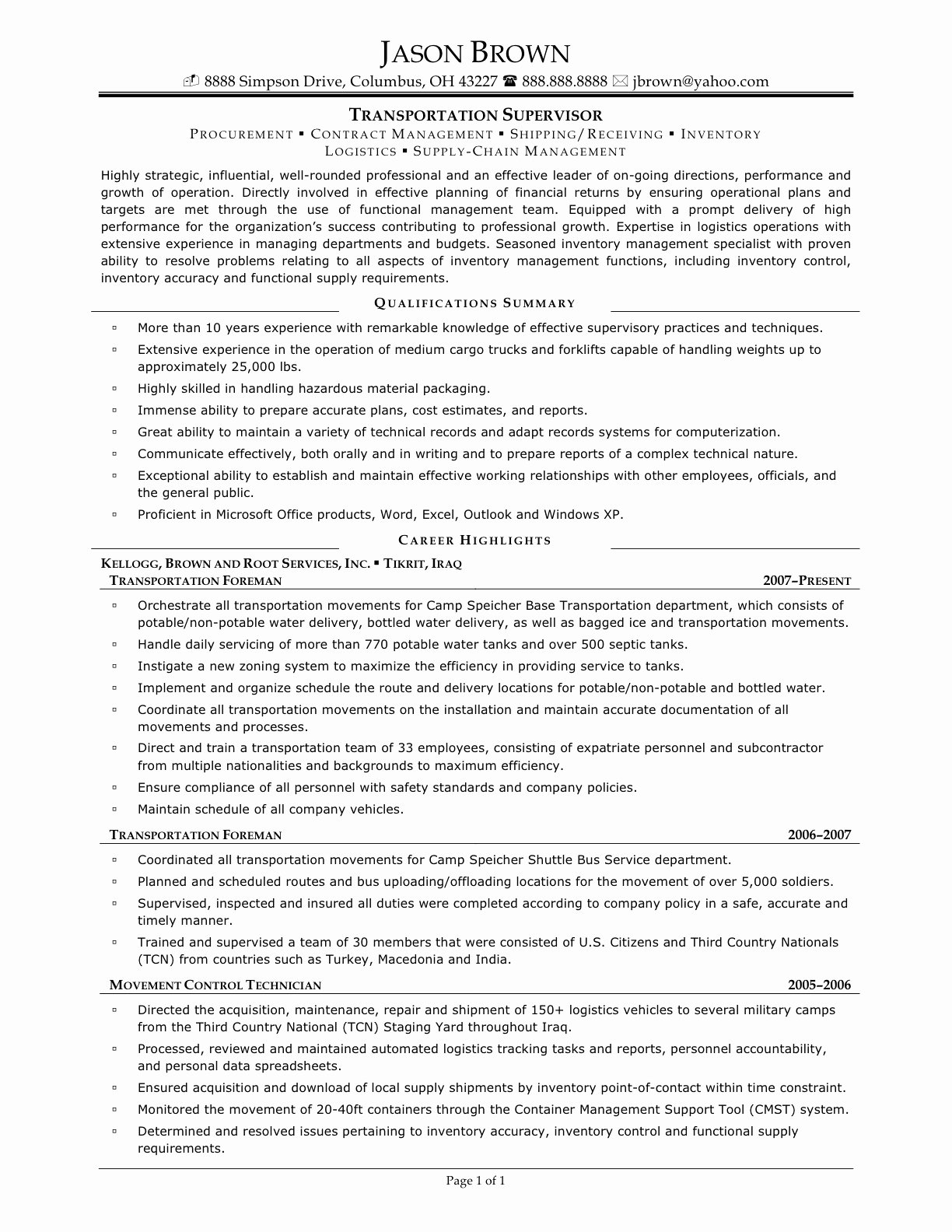 Sample Resume Warehouse Supervisor Bongdaao