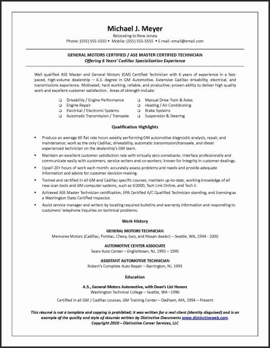 Sample Resume Written to Land A Blue Collar Job