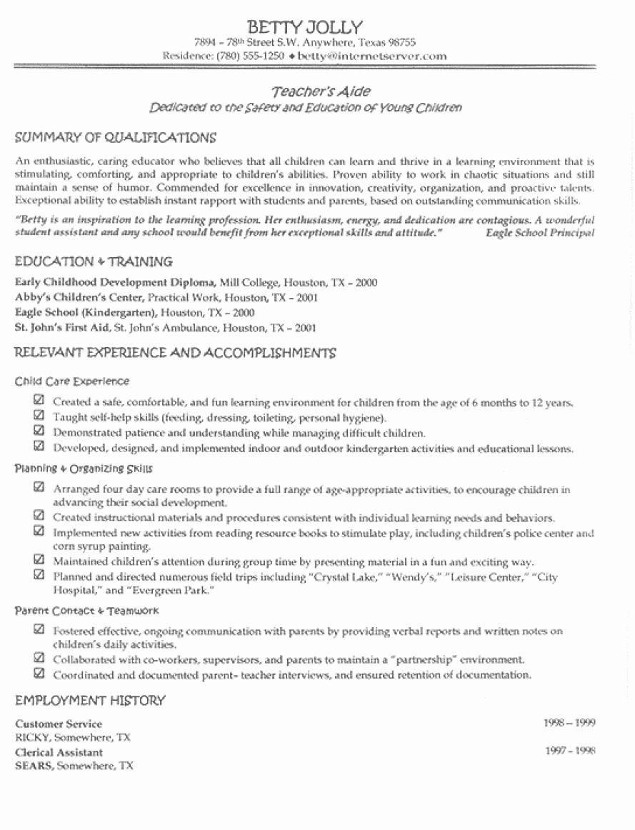 Sample Resumes for Teacher with No Experience Easy Resume