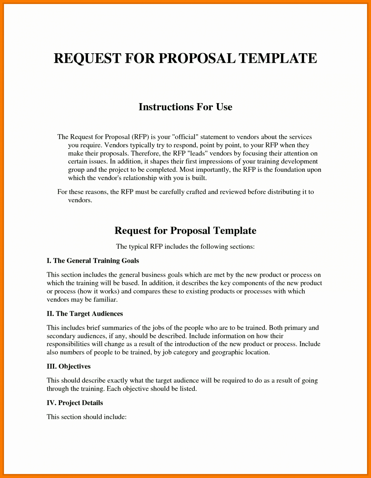 Sample Rfp Response Template Information Technology Example