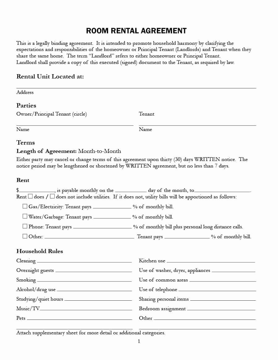 Sample Room Rental Agreements Ideasplataforma