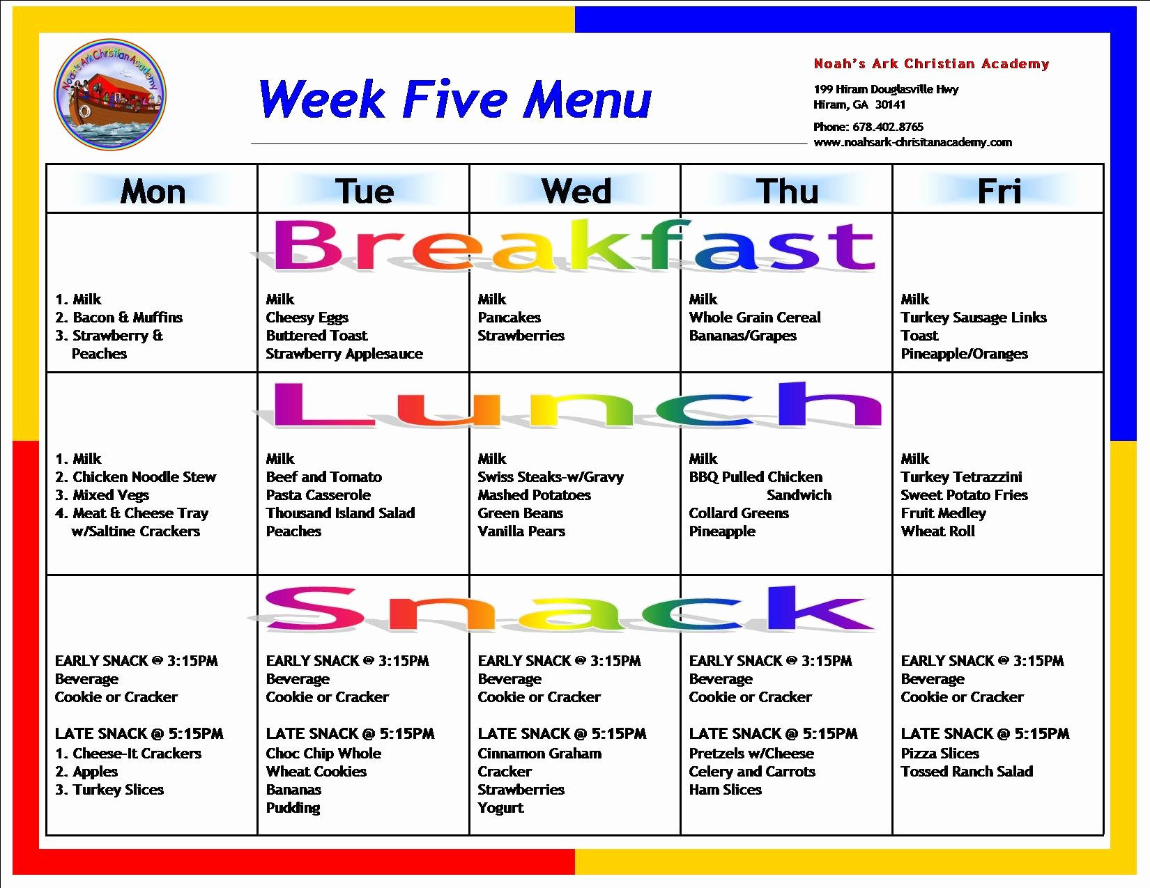 Sample School Menus – Noah S Ark Christian Academy