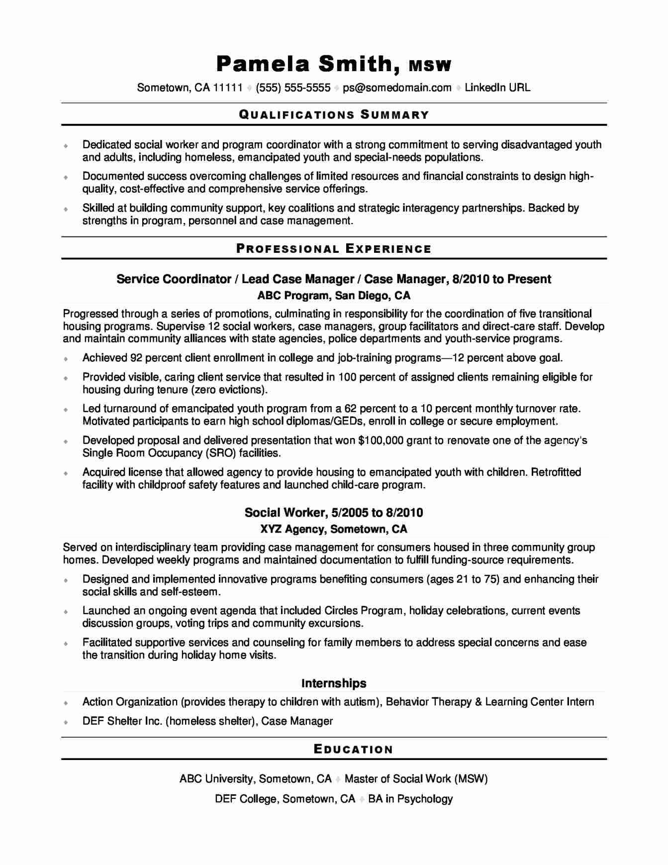 Sample School social Worker Resume
