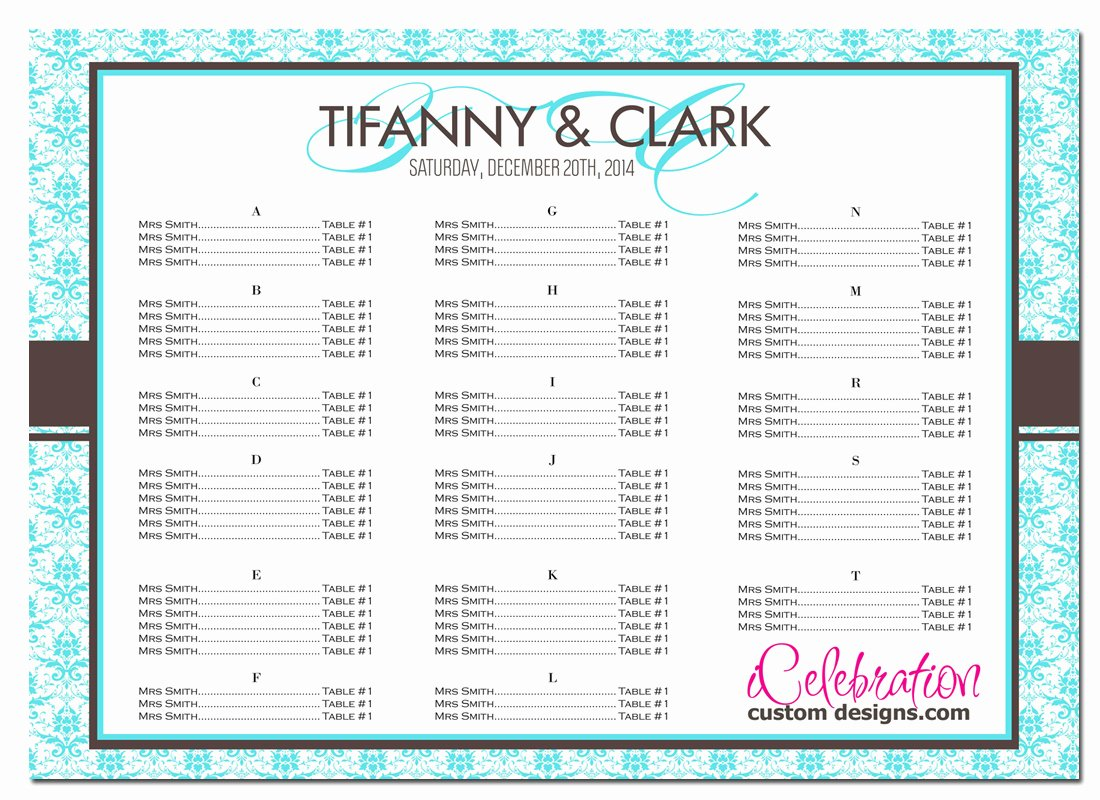 Sample Seating Chart for Wedding Reception