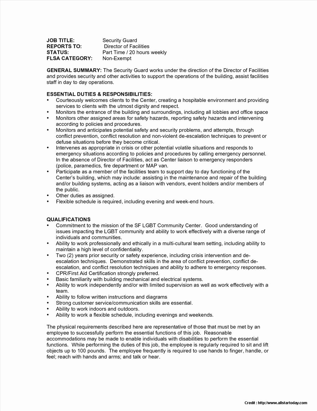 Sample Security Guard Resume No Experience Resume