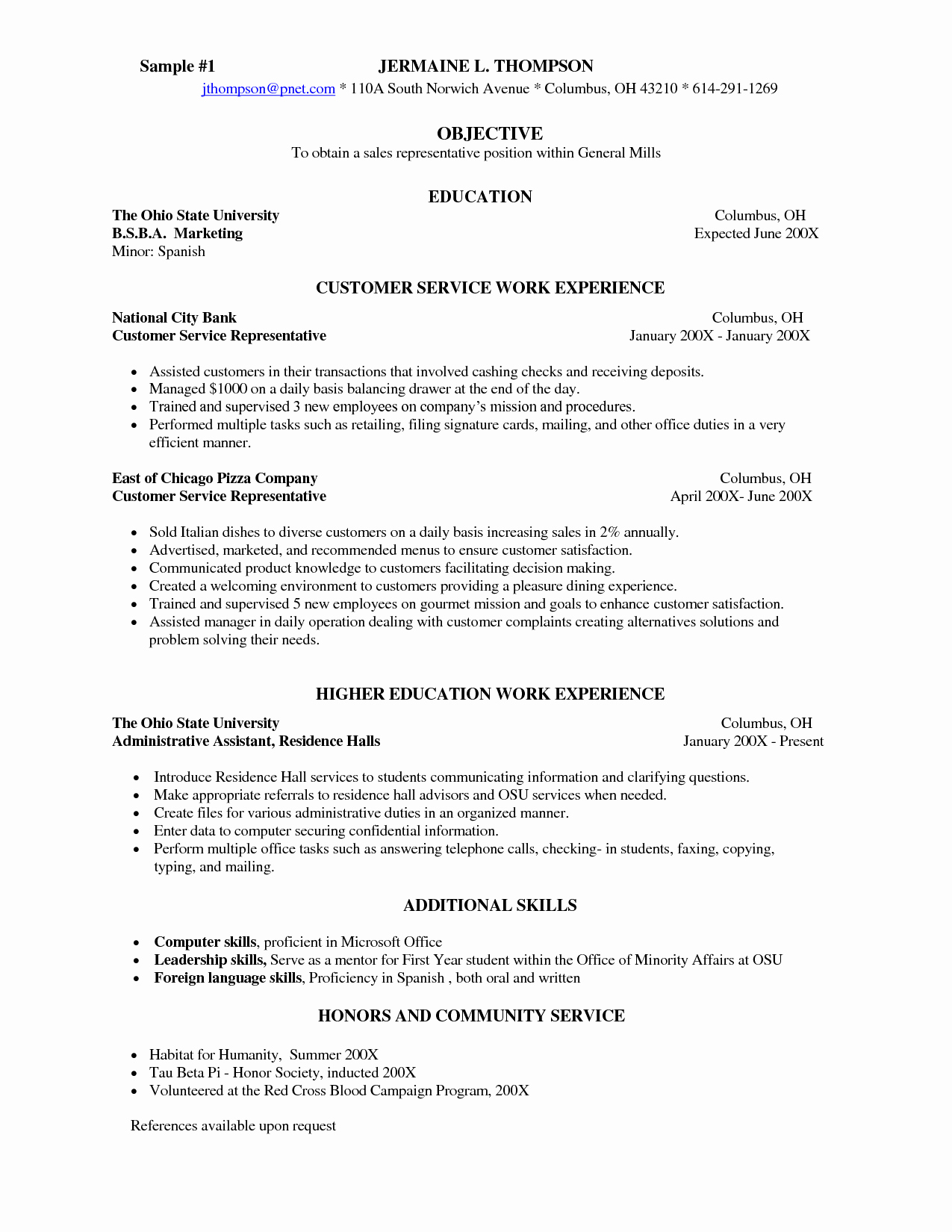 Sample Server Resume Templates Information Skills Template