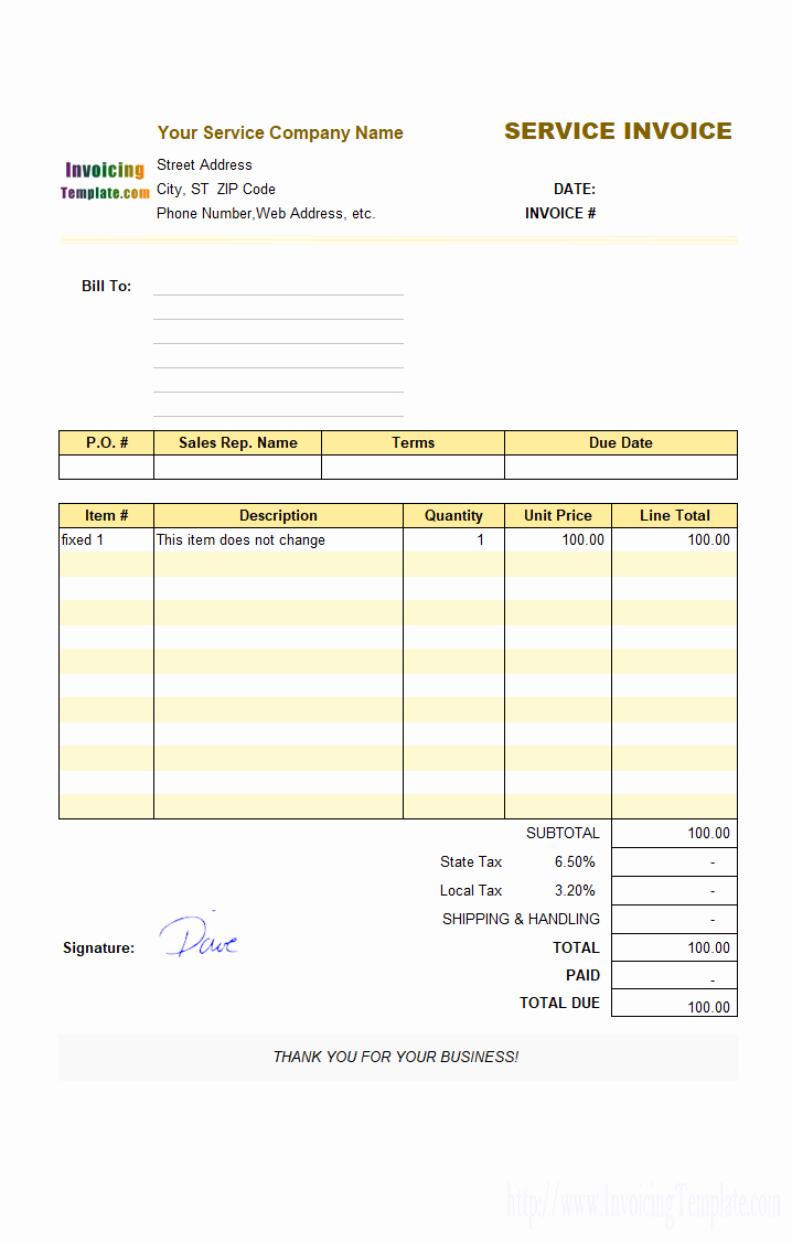 Sample Service Invoice Template Fixed Items