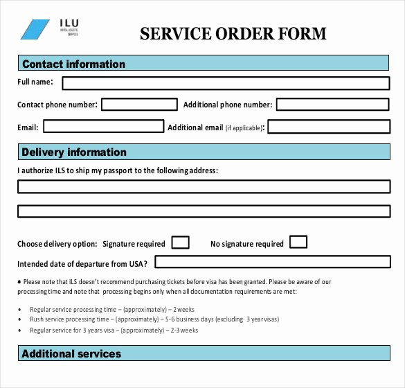 Sample Service order Template 19 Free Word Excel Pdf