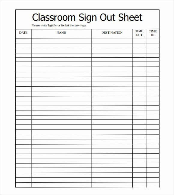 Sample Sign Out Sheet Template 8 Free Documents