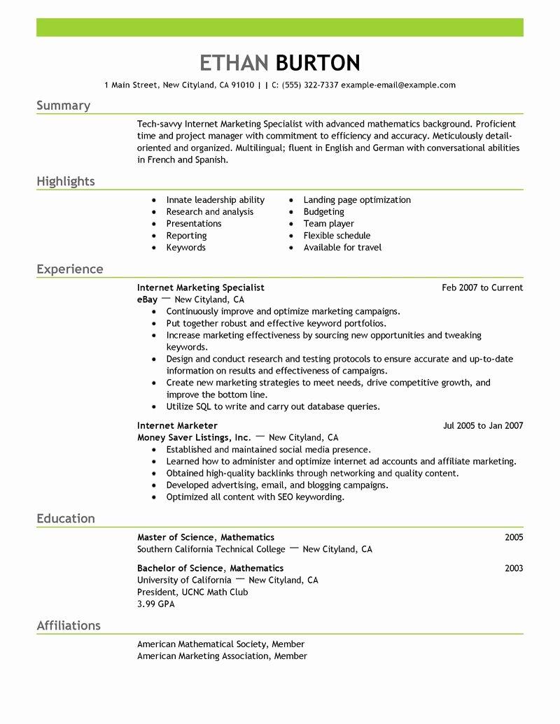 Sample social Media Resume