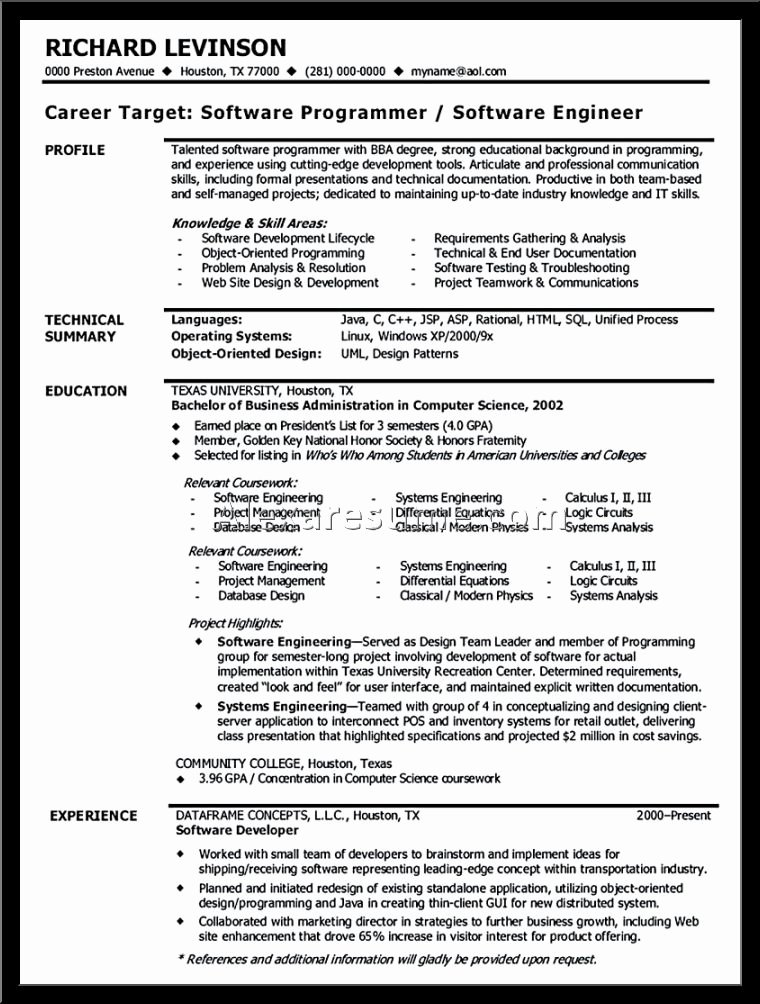 Sample software Engineer Resume format software Engineer