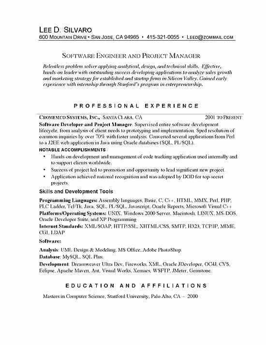 Sample software Engineer Resume Senior Examples Net