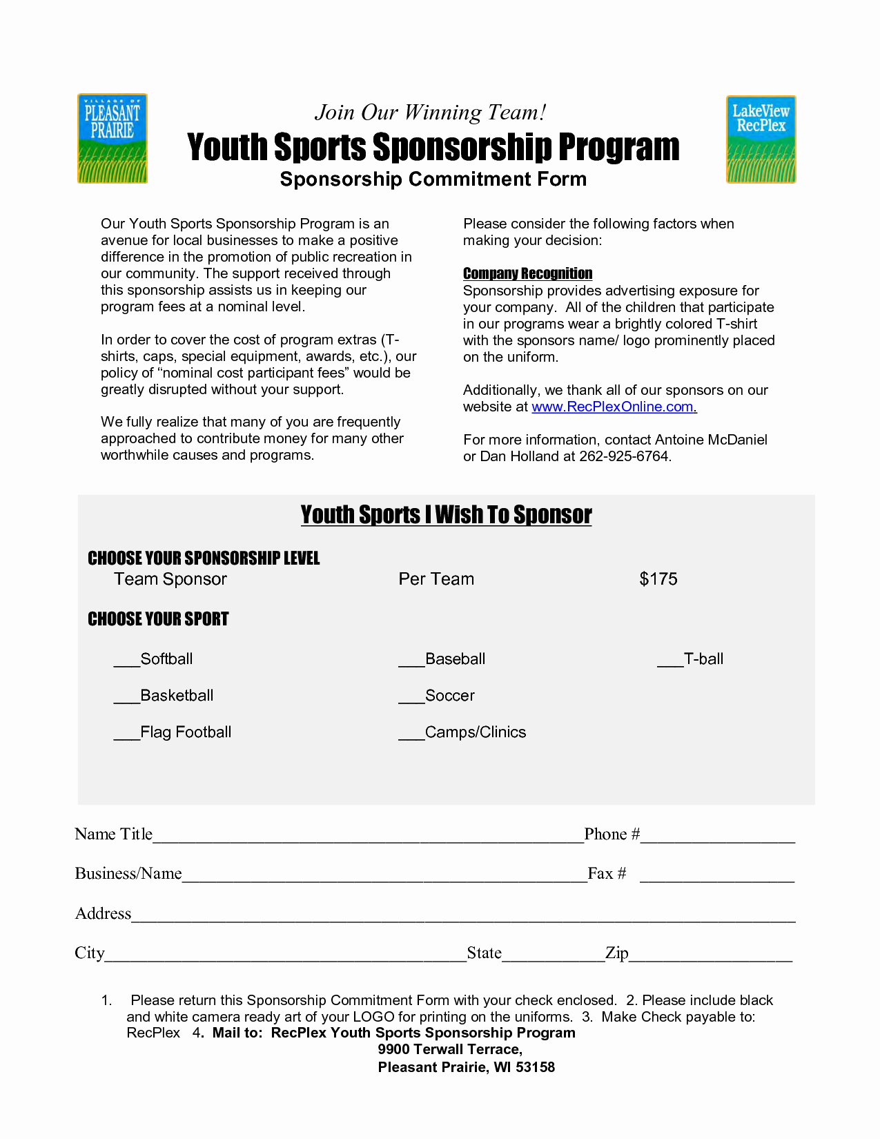 Sample Sponsorship Letter for Sports tournament Sample