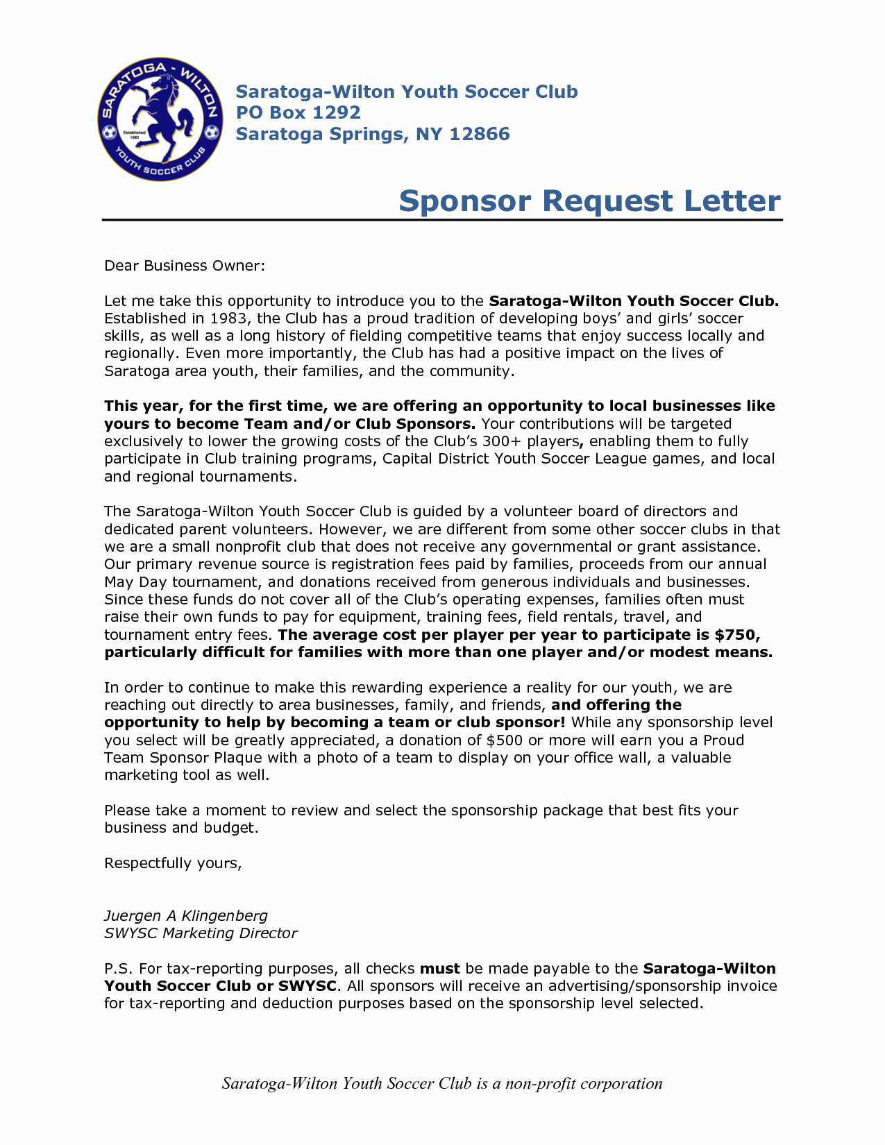 Sample Sponsorship Request Letter for Youth Sports Team