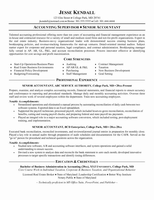 Sample Staff Accountant Resume