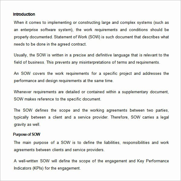 Sample Statement Of Work Template 11 Free Documents