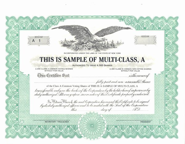 sample stock certificate free