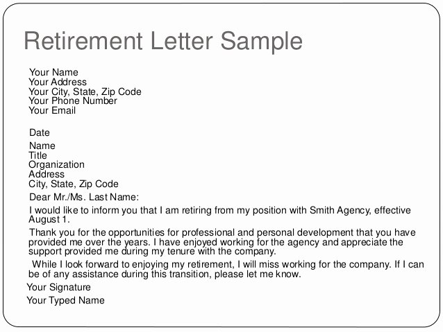 Sample Teacher Retirement Letter to Employer