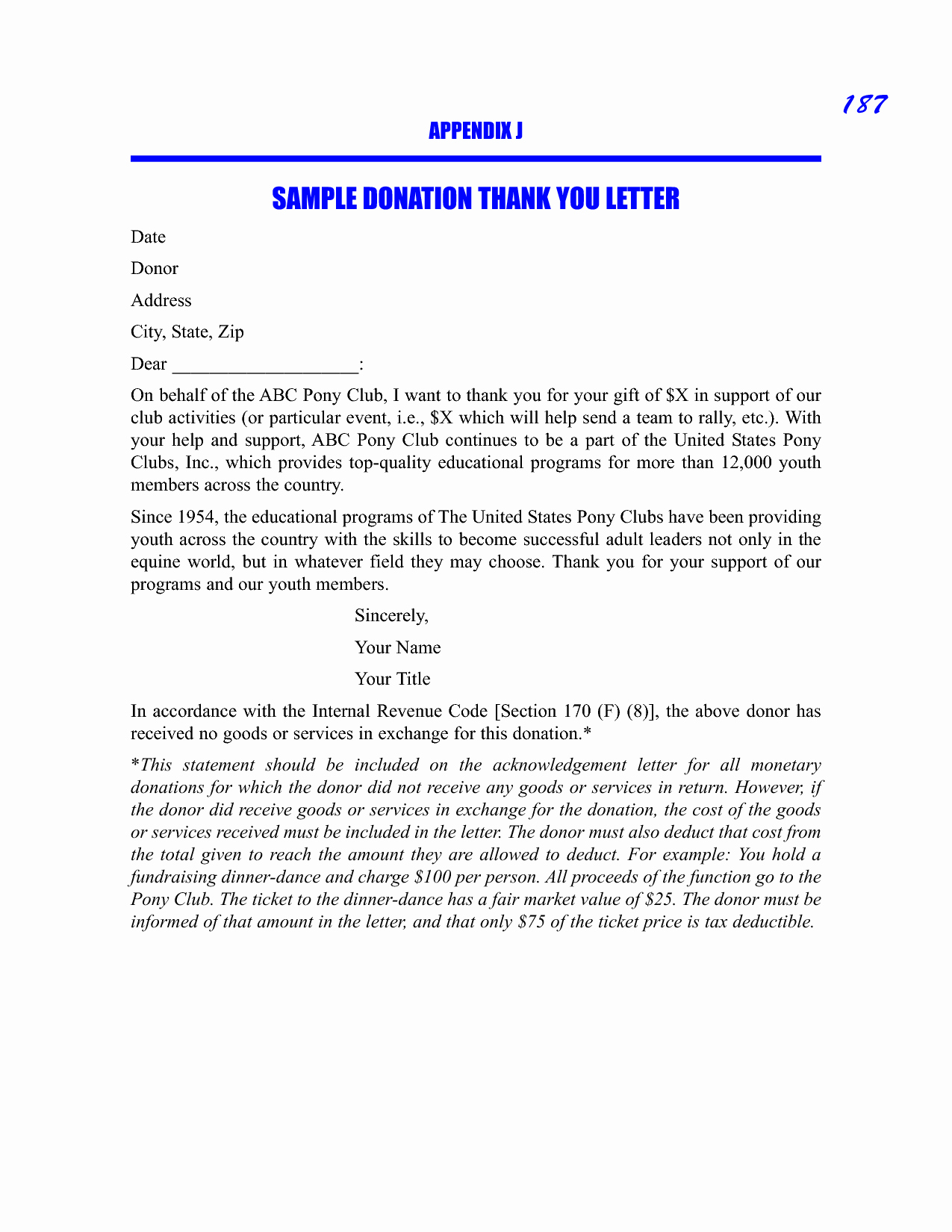 Sample Thank You Letter for Donation