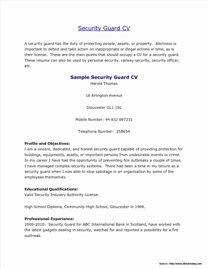 Sample Unarmed Security Guard Resume Resume Resume