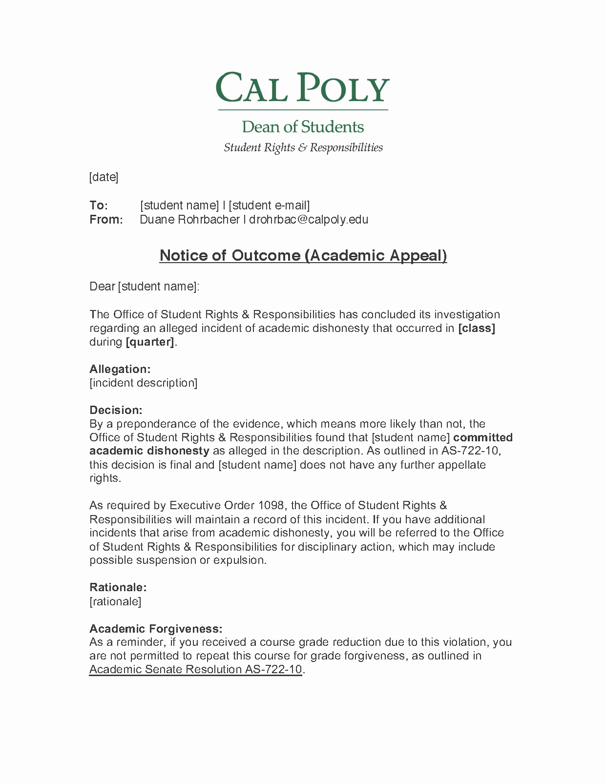 Sample University Appeal Letter Academic Appeal