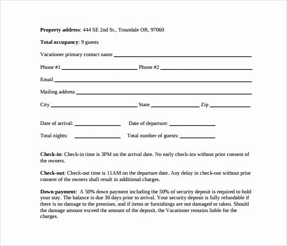 Sample Vacation Rental Agreement 7 Free Documents In