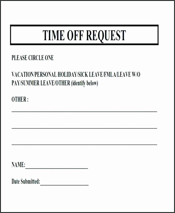 Sample Vacation Request form Simple Simple Vacation