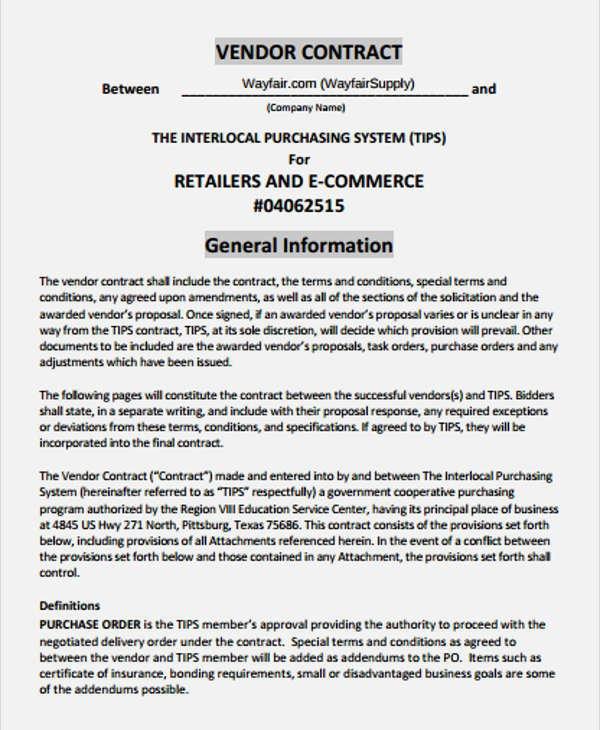 Sample Vendor Contract Simple Vendor Agreement Template