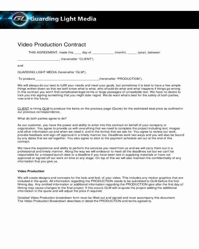 Sample Video Production Contract Edit Fill Sign Line