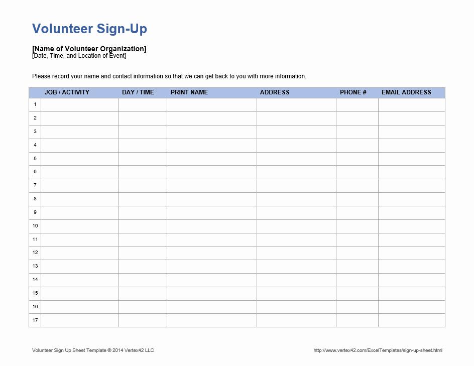 Sample Volunteer Sign Up Sheets