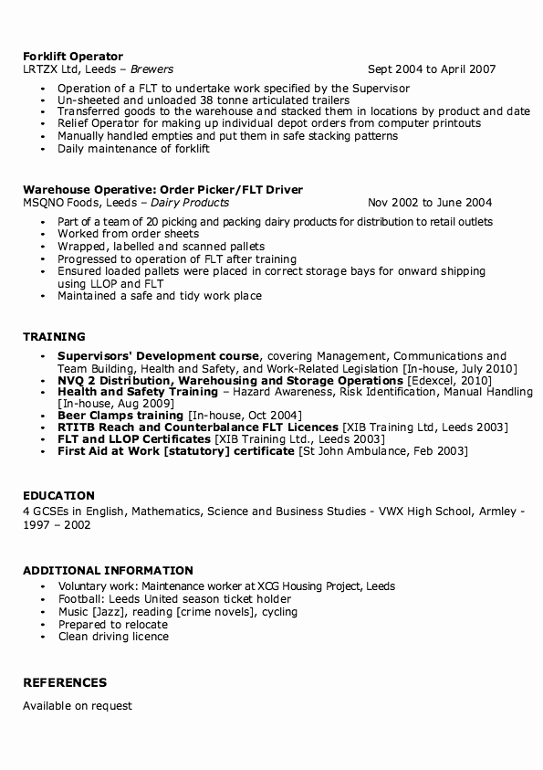 Sample Warehouse Supervisor Resume