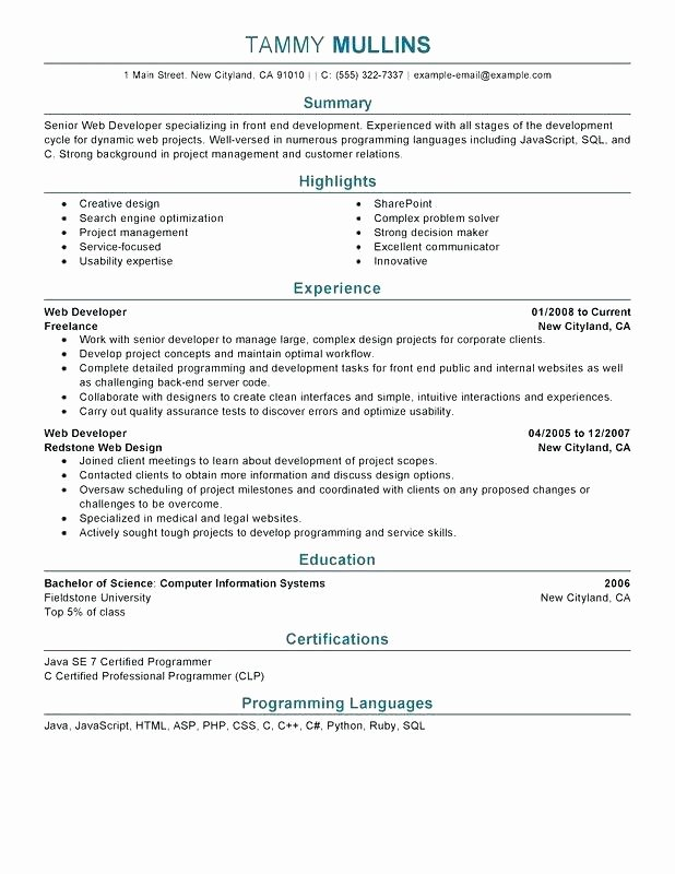 sample web developer resume