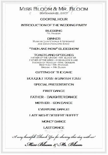 Sample Wedding Reception Program Ceremony
