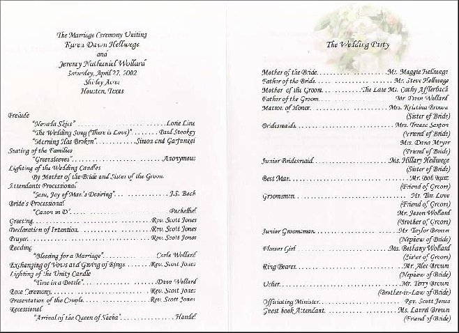 Sample Wedding Reception Program Wedding