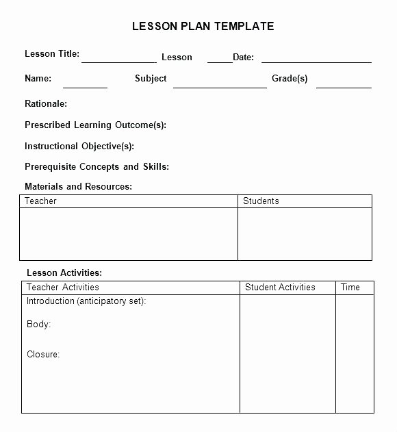 Sample Weekly Lesson Plan Template Intricutlaser